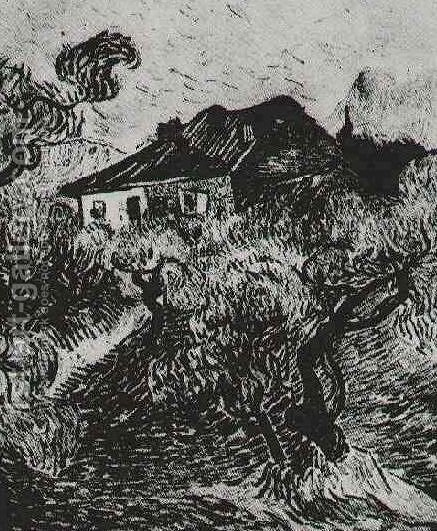 The white cottage among the olive trees by vincent van gogh reproduction oil painting