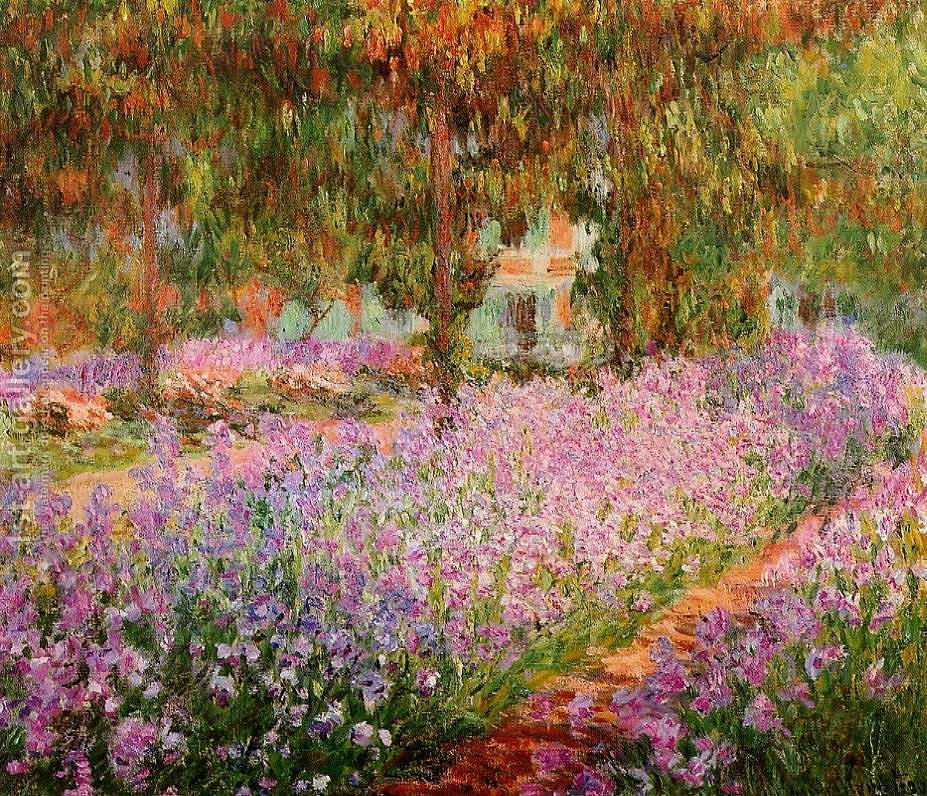 Bon Irises In Monets Garden By Claude Oscar Monet   Reproduction Oil Painting