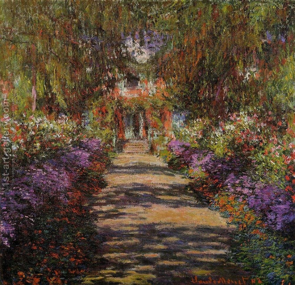 Charmant Pathway In Monets Garden At Giverny By Claude Oscar Monet   Reproduction  Oil Painting