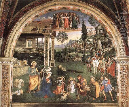 Adoration of the Child 1501 by Bernardino di Betto (Pinturicchio) - Reproduction Oil Painting