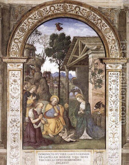 Adoration of the Christ Child c. 1490 by Bernardino di Betto (Pinturicchio) - Reproduction Oil Painting