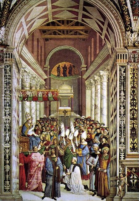 Aeneas Piccolomini Crowned as Pope 1502-08 by Bernardino di Betto (Pinturicchio) - Reproduction Oil Painting