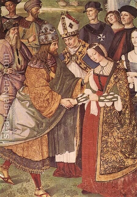 Aeneas Piccolomini Introduces Eleonora of Portugal to Frederick III (detail) 1502-08 by Bernardino di Betto (Pinturicchio) - Reproduction Oil Painting