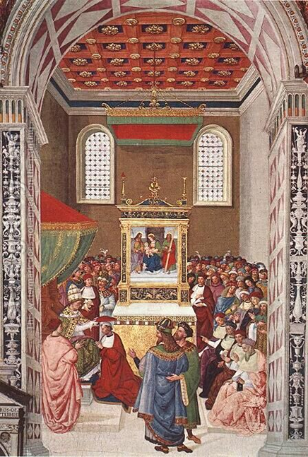 Piccolomini Receives the Cardinal Hat 1502-08 by Bernardino di Betto (Pinturicchio) - Reproduction Oil Painting