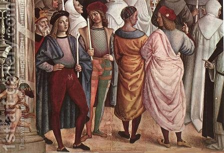Pope Aeneas Piccolomini Canonizes Catherine of Siena (detail) 1502-08 by Bernardino di Betto (Pinturicchio) - Reproduction Oil Painting