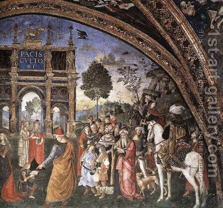 St Catherine's Disputation (detail-2) 1492-94 by Bernardino di Betto (Pinturicchio) - Reproduction Oil Painting