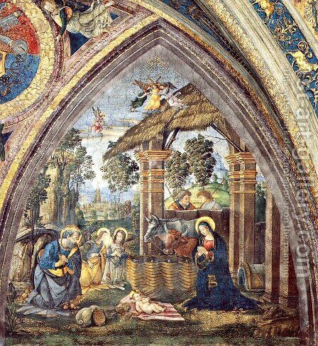The Nativity (2) by Bernardino di Betto (Pinturicchio) - Reproduction Oil Painting