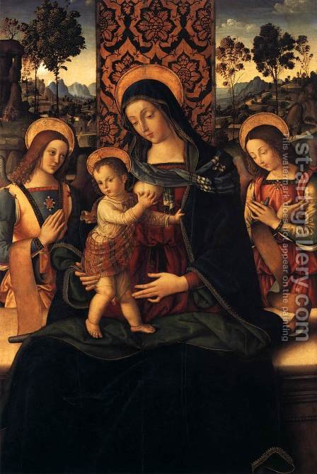 The Virgin and Child with Two Angels 1475-80 by Bernardino di Betto (Pinturicchio) - Reproduction Oil Painting