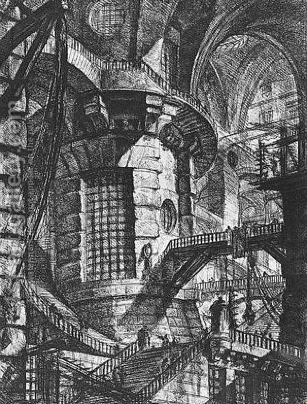 Carceri d'Invenzione- plate III (second edition) 1760 by Giovanni Battista Piranesi - Reproduction Oil Painting