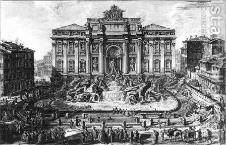 The Trevi Fountain in Rome 1773 by Giovanni Battista Piranesi - Reproduction Oil Painting