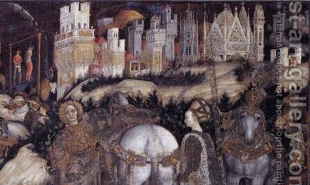 Saint George and the Princess of Trebizond (detail-2) 1436-38 by Antonio Pisano (Pisanello) - Reproduction Oil Painting