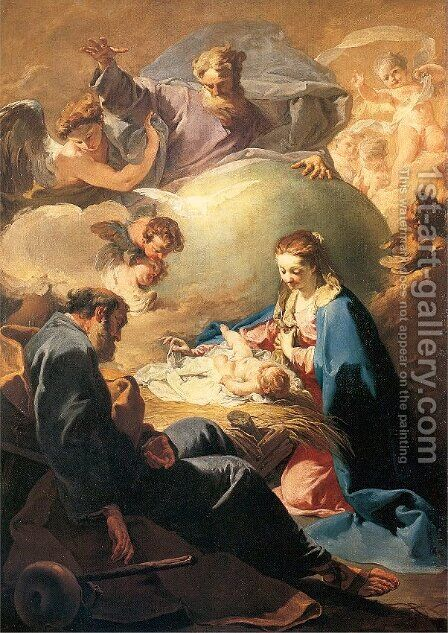 The Nativity with God the Father and the Holy Ghost 1740 by Giovanni Battista Pittoni the younger - Reproduction Oil Painting