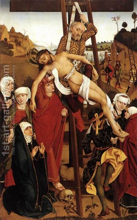 Crucifixion of the Hof Altarpiece 1465 by Hans Pleydenwurff - Reproduction Oil Painting