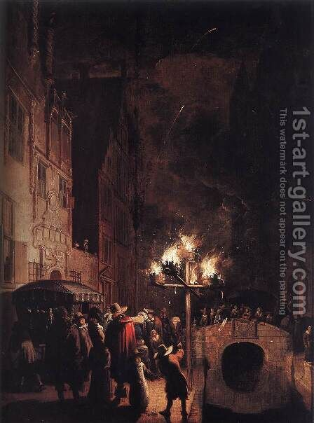 Celebration by Torchlight on the Oude Delft by Egbert van der Poel - Reproduction Oil Painting