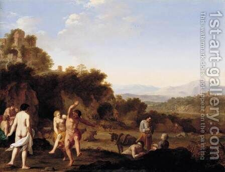Italianate Landscape with Dancing Figures by Cornelis Van Poelenburgh - Reproduction Oil Painting