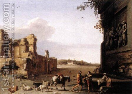 Ruins of Ancient Rome c. 1620 by Cornelis Van Poelenburgh - Reproduction Oil Painting