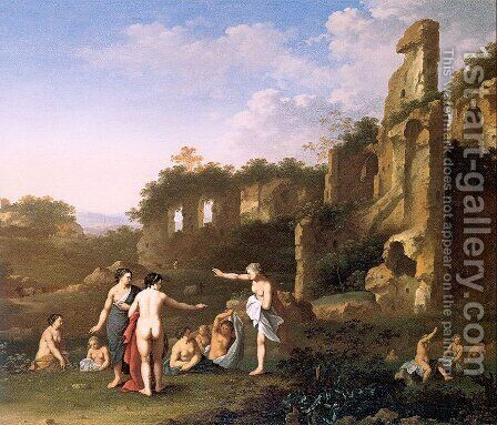 Women Bathing in a Landscape 1630 by Cornelis Van Poelenburgh - Reproduction Oil Painting