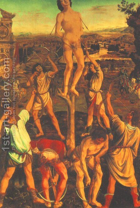 Martyrdom of St Sebastian 1473-75 by Antonio Pollaiolo - Reproduction Oil Painting
