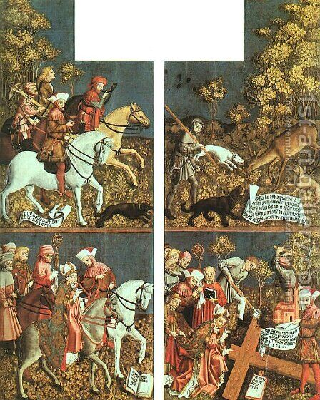 Altarpiece of the Holy Cross by Master of the Polling Panels - Reproduction Oil Painting