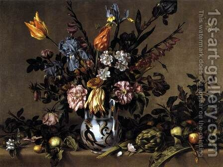Still-Life with Flowers, Artichokes and Fruit c. 1660 by Antonio Ponce - Reproduction Oil Painting