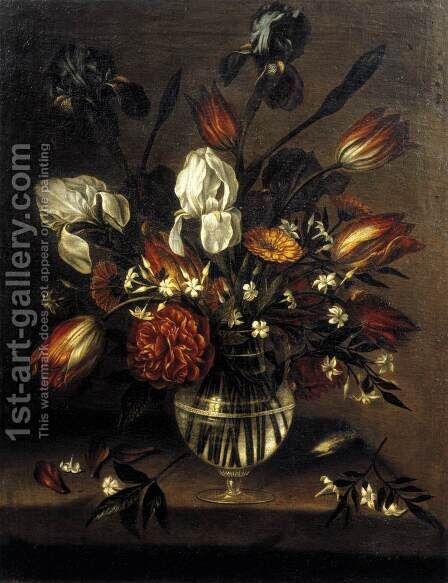 Vase of Flowers (2) c. 1650 by Antonio Ponce - Reproduction Oil Painting