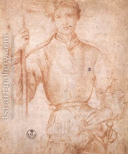 Halberdier 1530s by (Jacopo Carucci) Pontormo - Reproduction Oil Painting