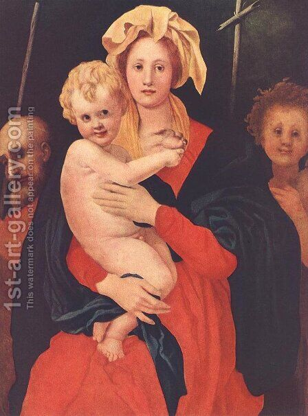 Madonna and Child with St. Joseph and Saint John the Baptist 1521-22 by (Jacopo Carucci) Pontormo - Reproduction Oil Painting