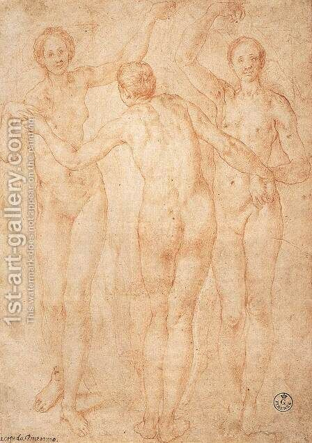 Three Graces c. 1535 by (Jacopo Carucci) Pontormo - Reproduction Oil Painting