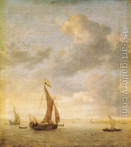 Single-Masted Damlooper and Rowboat on a Breezy Day by Jan Porcellis - Reproduction Oil Painting