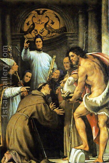 San Lorenzo Giustiniani and Two Turquoise Friars with Saints  1532-34 by (Giovanni Antonio de' Sacchis) Pordenone - Reproduction Oil Painting