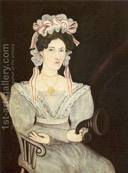 Mrs. J. B. Sheldon 1835 by Asahel Lynde Powers - Reproduction Oil Painting