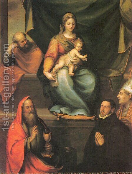 The Holy Family with Saints and the Master Alonso de Villegas 1589 by Blas del Prado - Reproduction Oil Painting