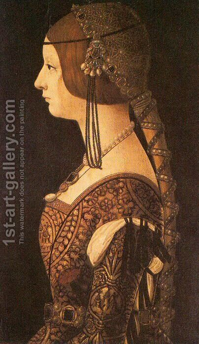 Bianca Maria Sforza  1493 by Ambrogio de Predis - Reproduction Oil Painting