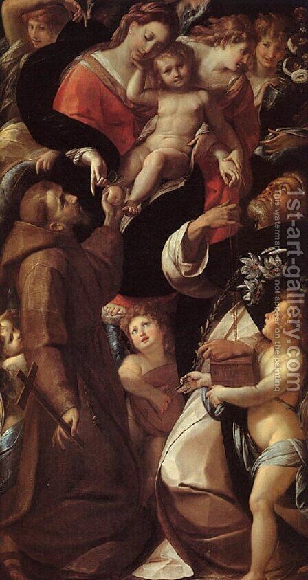 Madonna and Child with Saints and Angels by Giulio Cesare Procaccini - Reproduction Oil Painting