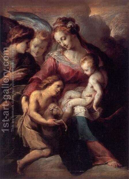 The Virgin and Child with the Infant St John the Baptist and Attendant Angels by Giulio Cesare Procaccini - Reproduction Oil Painting