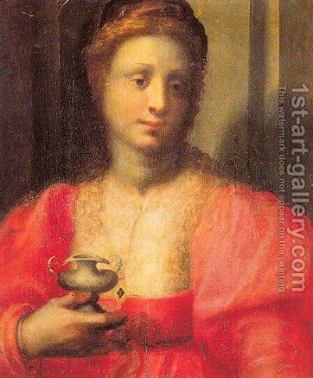 Portrait of a Woman Dressed as Mary Magdalen by Domenico Puligo - Reproduction Oil Painting