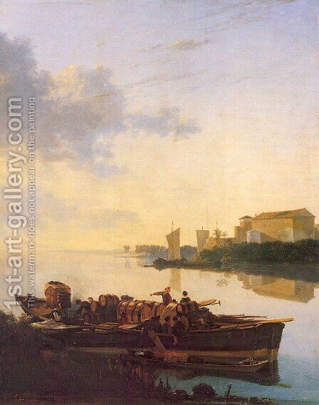 Barges on a River c. 1655 by Adam Pynacker - Reproduction Oil Painting
