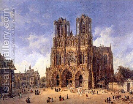 Reims Cathedral 1833 by Domenico II Quaglio - Reproduction Oil Painting