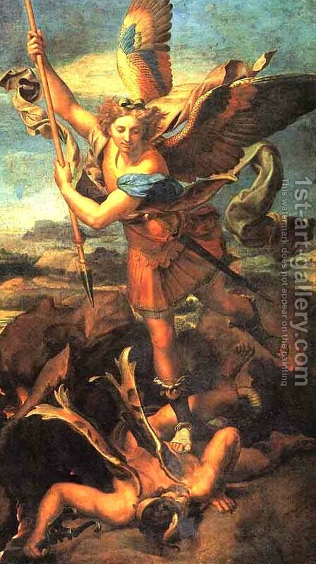 Saint Michael Trampling the Dragon 1518 by Raphael - Reproduction Oil Painting