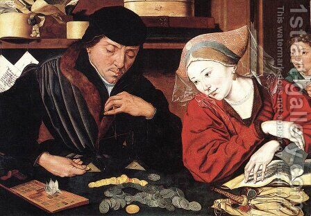 The Banker and His Wife by Marinus van Reymerswaele - Reproduction Oil Painting
