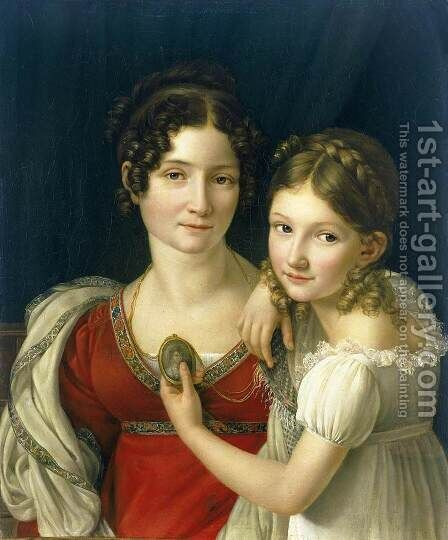 Mother and Her Daughter 1816-23 by Henri-Francois Riesener - Reproduction Oil Painting