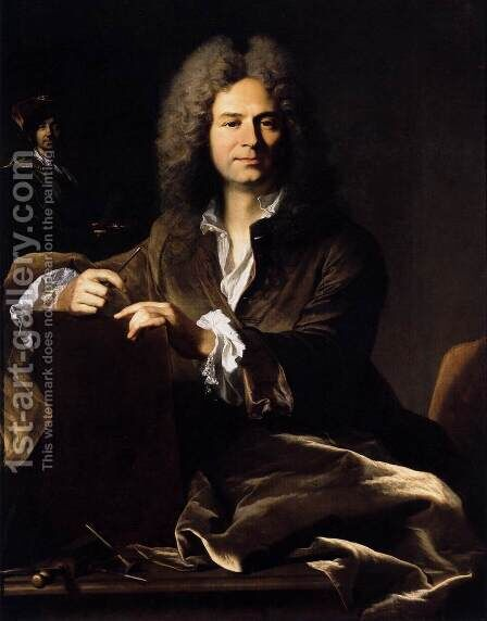 Portrait of Pierre Drevet c. 1700 by Hyacinthe Rigaud - Reproduction Oil Painting