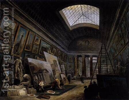 Imaginary View of the Grande Galerie in the Louvre 1789 by Hubert Robert - Reproduction Oil Painting
