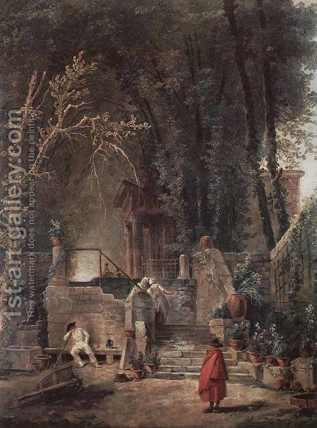 Italian Park by Hubert Robert - Reproduction Oil Painting