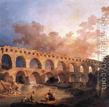 The Pont du Gard 1787 by Hubert Robert - Reproduction Oil Painting