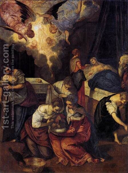 Birth of St John the Baptist c. 1563 by Jacopo Tintoretto (Robusti) - Reproduction Oil Painting