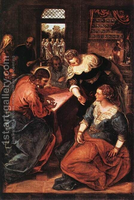 Christ in the House of Martha and Mary 1570-75 by Jacopo Tintoretto (Robusti) - Reproduction Oil Painting