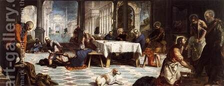 Christ Washing the Feet of His Disciples c. 1547 by Jacopo Tintoretto (Robusti) - Reproduction Oil Painting
