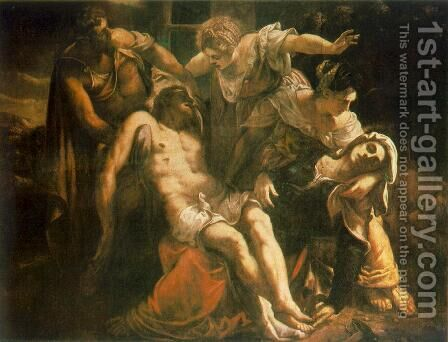 Descent from the Cross (Pieta) c. 1559 by Jacopo Tintoretto (Robusti) - Reproduction Oil Painting