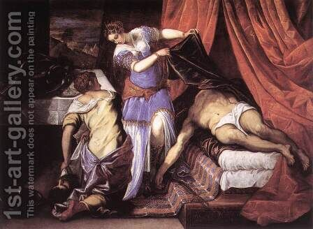 Judith and Holofernes c. 1579 by Jacopo Tintoretto (Robusti) - Reproduction Oil Painting